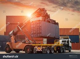 Container Loading Truck Trade Port Stock Photo (Edit Now) 597336746 ...
