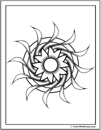 Geometric Design Printable Coloring Pages Flower On Circles