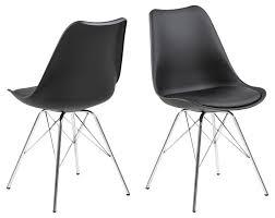 4er set design esszimmerstuhl schwarz chrom stuhlset wohnzimmer stuhl stühle