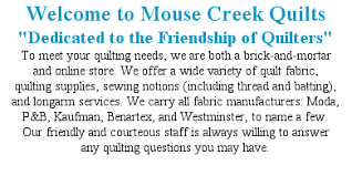 Wel e to Mouse Creek Quilts