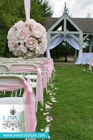 Pink And White Wedding Ceremony Decor Pomanders Gazebo Draping