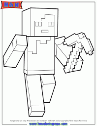 Minecraft Coloring Pages Steve Diamond Armor Bltidm