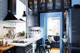 ikea blue kitchen cabinets ways to make a small kitchen feel big