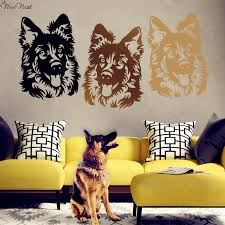 Aliexpress Buy German Shepherd Dog Wall Decal Vinyl Sticker Home Decor Head Mural Living Room Bedroom KItchen Decoration From