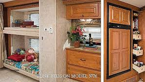 Damon Astoria Class A Motorhome Interior Showing Bunk Beds Model 3776 And Large Refrigerator
