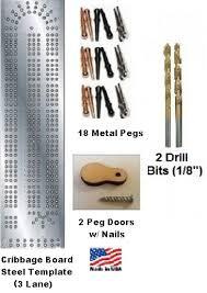 Cribbage Board Template Set 3 Player Steel