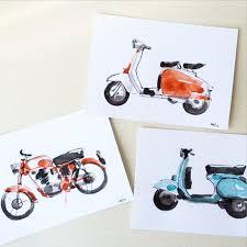 Drawing Vintage Wheels Illustration Motorcycle Vespa Lambretta