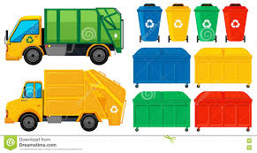 100 Rubbish Truck S And Cans In Many Colors Stock Vector Illustration