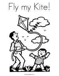 Fly My Kite Coloring Page