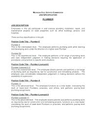Resume For Plumber Template Packed With Dispatcher Sample Medium To Large Size Of Job Description Duties Plumbing