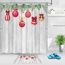 wasserdicht dusch vorhang für badezimmer weihnachten schnee geschenk holz bord drucken badewanne vorhänge dekoration polyester bad vorhang