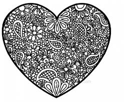 Free Printable Heart Abstract Doodle Difficult Coloring Page For Adults