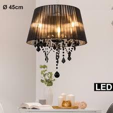 textil pendel decken leuchte schwarz wohnzimmer glas kristall hänge le im set inkl led leuchtmittel yatego