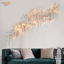 moderne kupfer wand le messing baum zweig wand licht glas tropfen wand leuchte beleuchtung wohnzimmer esszimmer beleuchtung