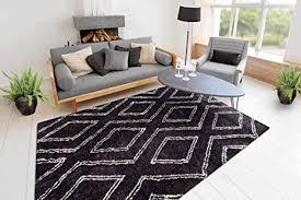 one couture shaggy teppich hochflor berber rauten design modern wohnzimmer teppiche schwarz wohnzimmerteppich esszimmerteppich teppichläufer