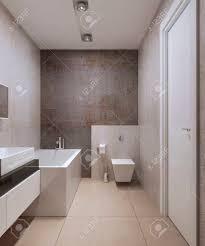 badezimmer minimalistischen stil wand wc auf dem sims weiß farbige möbel moderne deckenleuchten marmorfliesen bodenbelag 3d übertragen