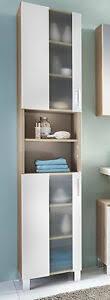 details zu bad hochschrank badschrank in weiß eiche badezimmer schrank chrom 190 cm porto