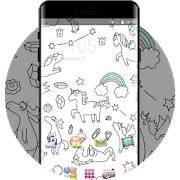 Cute Unicorn Cartoon Theme With Rainbow Wallpaper