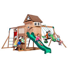 Backyard Discovery - Playsets & Swing Sets - Parks, Playsets ... Shop Backyard Discovery Prestige Residential Wood Playset With Tanglewood Wooden Swing Set Playsets Cedar View Home Decoration Outdoor All Ebay Sets Triumph Play Bailey With Tire Somerset Amazoncom Mount 3d Promo Youtube Shenandoah