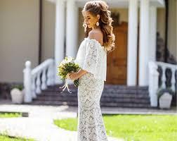 Boho Wedding DressUnique Bridal GownLace Edding DressRustic Dress