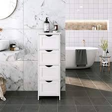 vasagle badezimmerschrank schmaler badschrank aus holz mit 4 schubladen 30 x 30 x 82 cm wohnzimmer schlafzimmer flur tief freistehend