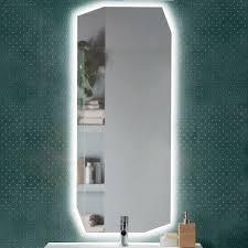 moderner spiegel mit polierter kante molly hinterleuchtet mit led 50x120