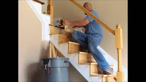 Stairs. How To Install Stair Railing Easily: Mesmerizing-how-to ... How To Replace Banister Newel Post Handrail And Spindles On A Banister Attachment To Install A Wooden Handrail On Split 42 White Wood Stair Railing Modern Home Designs Steep Stairs Rails Iron Balusters August 2010 Deckscom Deck Railings Installing Baby Gate Without Drilling Into Insourcelife Cooper Stairworks Tips Techniques Using Post Hdware For Iron X Installation Animation Youtube Chaing Your Wrought Fancy