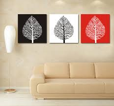 Black White Red Tree Canvas Painting 3 Piece Modern Abstract Wall Art Custom Prints Photo To Customization In Calligraphy From