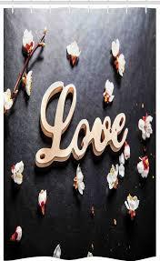 abakuhaus duschvorhang badezimmer deko set aus stoff mit haken breite 120 cm höhe 180 cm mandelblüte liebe zeichen aus holz kaufen otto