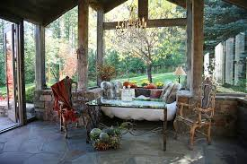 Picture Perfect Rustic Sunroom With Sitting Nook And Unassuming Decor Design Alexandra Lauren