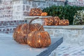Set Of 3 Indoor And Outdoor Decorative Lighted Pumpkins Halloween