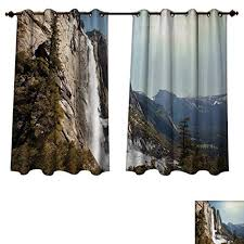 Anzhouqux Yosemite Blackout Thermal Backed Curtains For Living Room Falls Mountain Sunshine Alpine Trees Dramatic