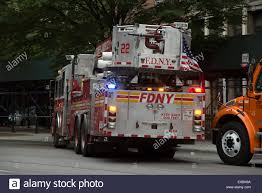 100 Truck Flag Mount Tower Ladder Fire Truck Rear View With Flag Manhattan New York USA