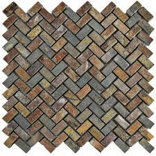 merola tile crag herringbone sunset slate 12 in x 12 in x 10 mm