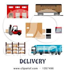 Flat Design Warehouse Building Freight Wagon Cargo Truck Forklift Storage Rack Calendar And Hands With Parcel Cardboard Box