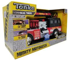 100 Tonka Mighty Motorized Fire Truck TONKA MOTORIZED FIRE TRUCK Engine W Flashing LIGHTS