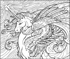 Realistic Winged Unicorn Coloring Pages 20 G Difficult Printable Image