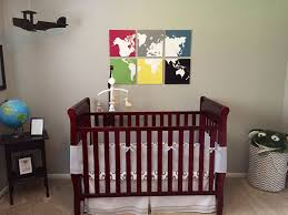 BedroomLovely Baby Nursery Room Decor With Travel Themed Brown Wooden Crib Also