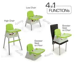 LuvLap 4 In 1 Booster High Chair- Green | Tanman Toys