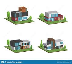 100 Four Houses Set Of Isometric And 3D And Modern Design Stock