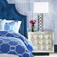 Blue Velvet King Headboard by Woodhouse King Bed Modern Furniture Jonathan Adler