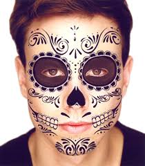 Day Of The Dead Pumpkin Carving Patterns by Amazon Com Day Of The Dead Halloween Face Tattoos Day Dead