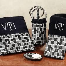 Decorative Towel Sets Bathroom by Black Mosaic Stone Cotton Bath Towel Set