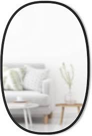 umbra hub wandspiegel ovaler spiegel für diele badezimmer wohnzimmer und mehr glass gummi schwarz