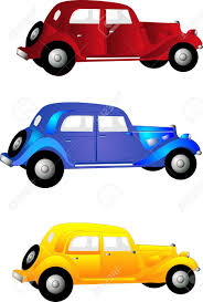 Three Old Vintage Cars In Red Blue And Yellow For Clip Art More