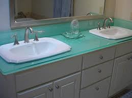 Drop In Sink Vanity Top by Colorful Glass Bathroom Countertop With Double Drop In Sinks Of