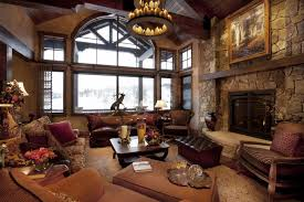 InteriorAdorable Rustic Style Living Room Design With Elegant Brown Leather Three Seat Sofa