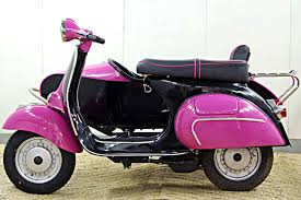 1966 Black And Pink Vespa 150 Scooter With Sidecar
