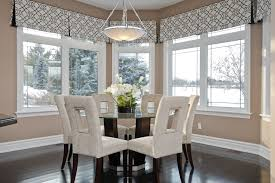 Window Valances For Contemporary Dining Room With Upholstered Chairs