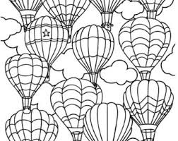 Printable Hot Air Balloon Coloring Page For Adults PDF JPG Instant Download